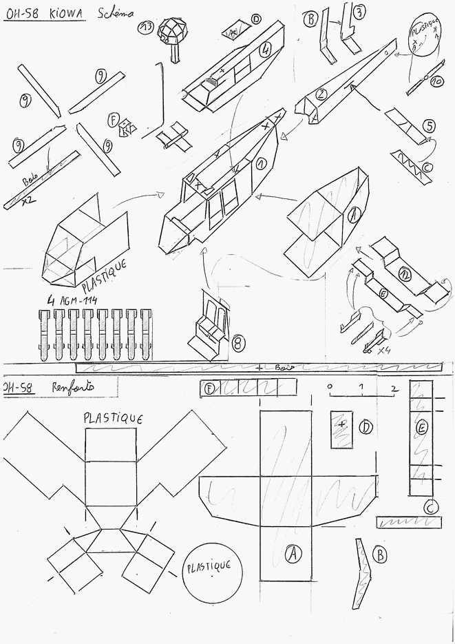 3  oh-58 kiowa - maquettes en papier - paper models