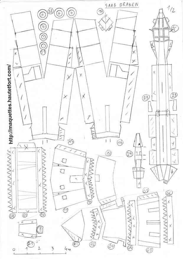 3  j-35 draken - maquettes en papier - paper models